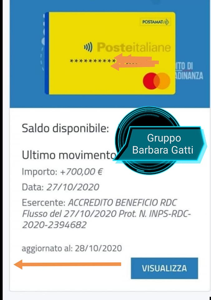 """Reddito di cittadinanza pagamento di ottobre. Screen dal gruppo facebook """"Gruppo Informazioni Inps bonus e altro"""" di Barbara Gatti"""