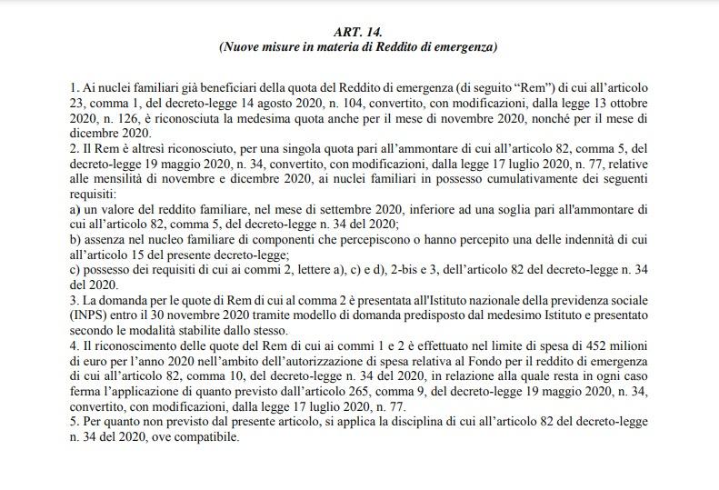 Reddito di emergenza rinnovato nel Decreto Ristori