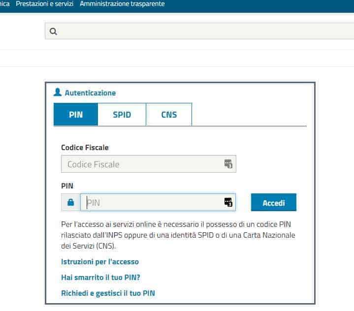 www.inps.it cedolino pensione schermata sito