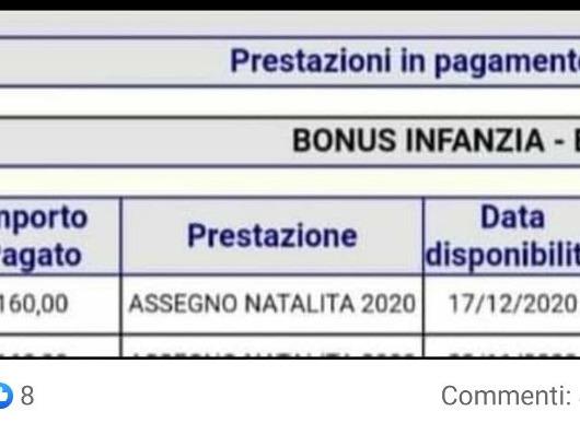 bonus bebè pagamento dicembre 2020 le date