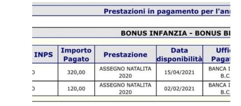 Pagamento bonus bebe aprile 2021 disposizioni di pagamento