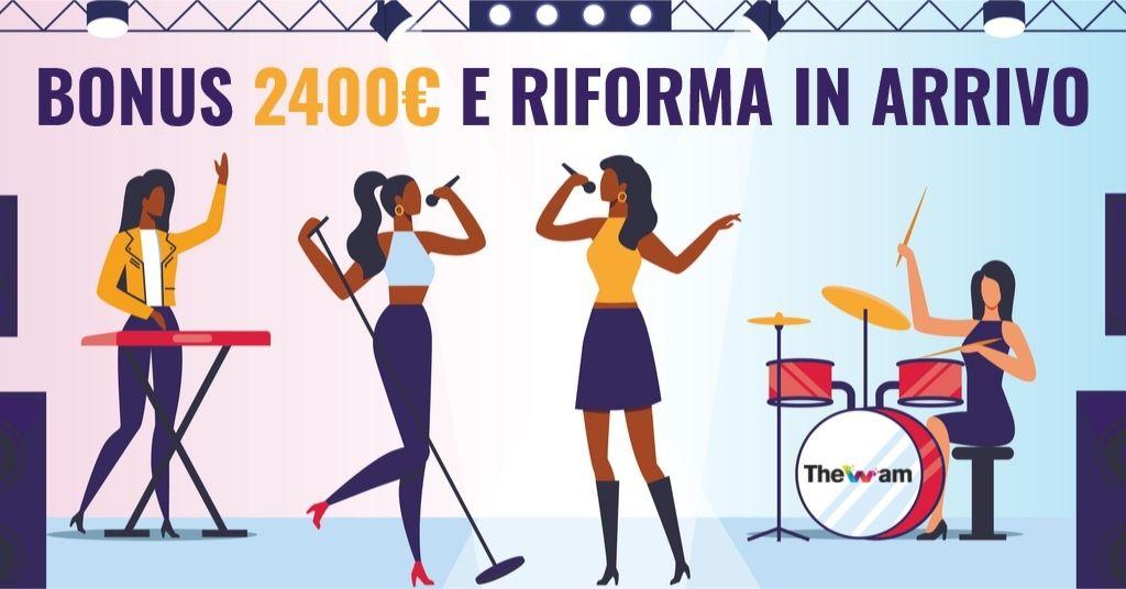 Bonus 2400 euro ai lavoratori dello spettacolo, poi riforma