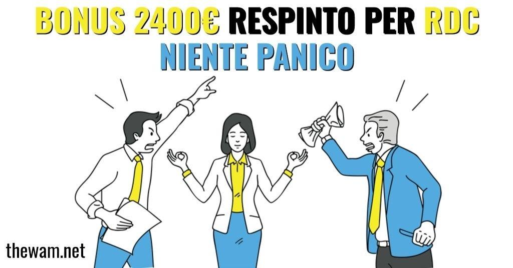 Bonus 2400 euro respinto per Rdc, è normale: ecco cosa fare