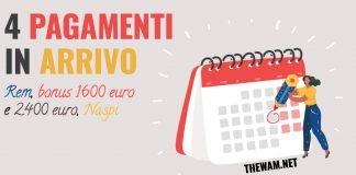 Reddito di emergenza bonus 1600 euro bonus 2400 euro naspi pagamenti luglio
