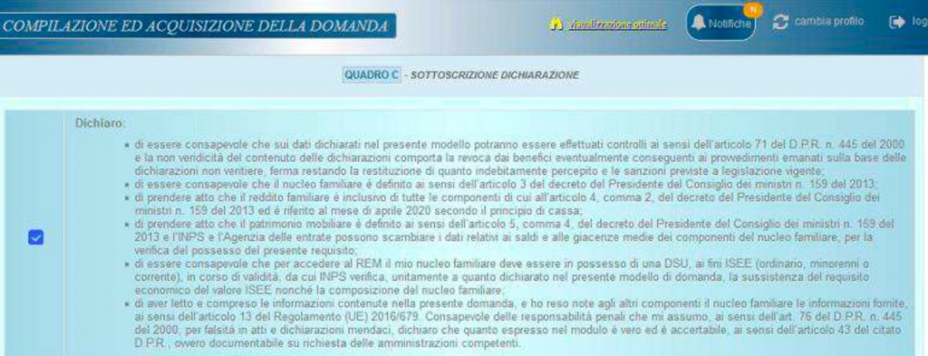 Reddito di emergenza come fare domanda online quadro c