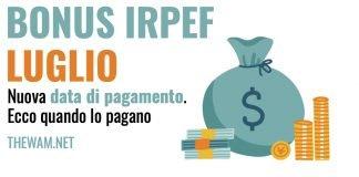 bonus irpef luglio 2021 data pagamento