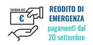 Pagamenti Reddito di Emergenza settembre da domani